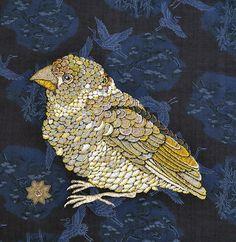 Textile works by Zara Merrick. Lustik: twitter |... | Lustik Textile Fiber Art, Textile Artists, Textile Tapestry, Fabric Birds, Fabric Art, Fibre And Fabric, Embroidered Bird, Bird Artwork, Textiles