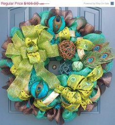 Peacock deco mesh wreath Peacock by WonderfulWreathsKim, on Etsy