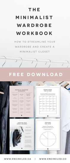 Free printable PDF minimalist wardrobe workbook. Create your dream capsule wardrobe!