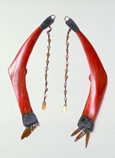 Philippines ~ Luzon Island | Pair of earrings; Scarlet hornbill with brass and shell.  Ilongot people. | 19th century