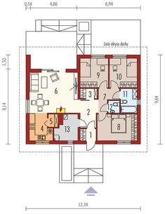 Projekt domu Mini 3 energo 79 m² - koszt budowy - EXTRADOM Little House Plans, Dream House Plans, Small House Plans, House Floor Plans, Outdoor Furniture Plans, Home Technology, Radiators, Building A House, Model