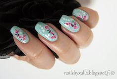 #ablecs15 Nature's Wonders, cherry blossom nail art, cherry blossom water decal, Essie Mint Candy Apple, dot nail art, China Glaze Fairy Dust