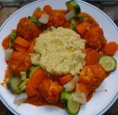 Repas complet :boulettes de poulet épicées