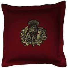 Timorous Beasties Thistle Cushion Black And Gold On Crimson Velvet (200 CAD) ❤ liked on Polyvore featuring home, home decor, throw pillows, red, timorous beasties, red toss pillows, gold throw pillows, black accent pillows and plush throw pillows