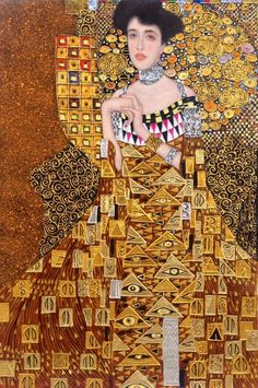Gustav Klimt Portrait of Adele Bloch-Bauer I reproduction oil painting on canvas, gold paint, made t Klimt, Art Nouveau Design, Gustav Klimt Art, Paintings Famous, Gustav Klimt, Art, Portrait, Custom Portrait Painting, Monochromatic Paintings