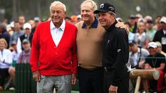 Arnold Palmer, Jack Nicklaus, and Gary Player of South Africa before the start of the 2013 Masters. Augusta National Golf Club, Masters Tournament, Masters Golf, Arnold Palmer, Sports Fanatics, Jack Nicklaus, Golf Clubs, Leather Jacket, Rob Brown