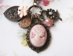 Cameo necklace jewelry pendant pink charms boho by romanticcrafts