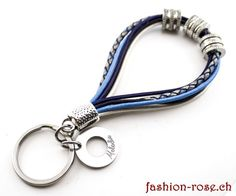 Schlüsselanhänger in Leder blau eine Geschenkidee Personalized Items, Silver Jewellery, The Last Song, Stainless Steel, Clock, Blue, Leather, Gifts
