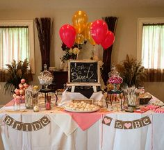 Pink and gold bridal shower dessert table. Brunch and bubbly!