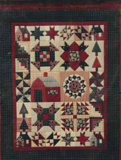 Primitive Folk Art Quilt Pattern - Farm Sampler by Sagebud Designs - wall hanging or throw Primitive Folk Art, Primitive Crafts, Primitive Christmas, Primitive Snowmen, Country Christmas, Christmas Christmas, Christmas Quilt Patterns, Quilt Block Patterns, Pattern Blocks