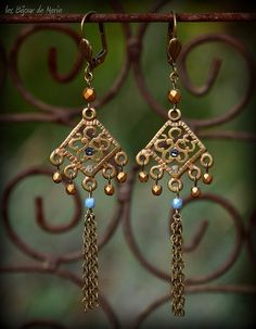 Boheme style Hippie chic gold and blue by LesBijouxDeMarie on Etsy