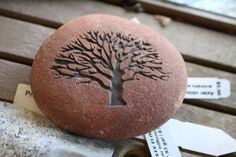 Natural Engraved Stone Oak Tree Paperweight