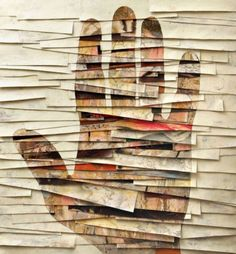 Hand Collage by Umberto Manzo Art Du Collage, Mixed Media Collage, Art Texture, Paper Art, Paper Crafts, Photocollage, Motif Floral, Mix Media, Art Plastique