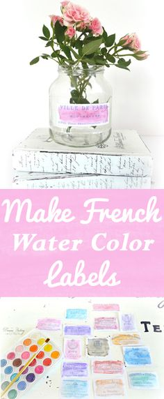 Make French Watercolor Labels Dreams Factory - Graphics Fairy