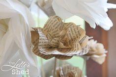 www.facebook.com/TheLetterShed #vintage #old #book #craft #flower #decoration #decor #wedding #design #topiary #event #petal #stem #paper #tissue #stem #arrangement