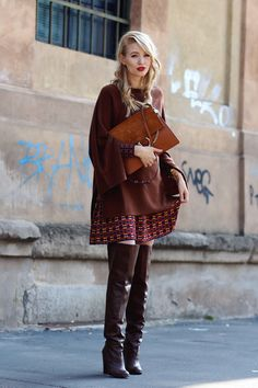 Autumn shades : M Missoni dress, Zara sweater & boots, Chloé bag Look Fashion, Fashion Boots, Girl Fashion, Winter Fashion, Fashion Outfits, Womens Fashion, Fashion Trends, Fashion Bloggers, Casual Skirt Outfits