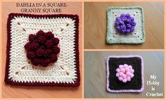 3D flower granny square free pattternsFlower Gardan Granny Square by Hiromi from Harujion Design