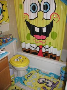 not sure that I would go this crazy, but little SpongeBob touches in the bathroom would be fun.  I already have tiger print rugs & a shower curtain that I would use in another bathroom.