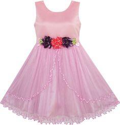 Sunny Fashion Flower Girl Dress Pageant Wedding Party Tulle Overlay Size 4-10 #SunnyFashion #Wedding