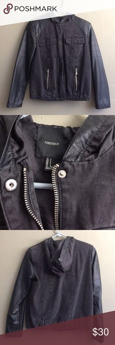 Forever 21 Black Faux Leather Jean Hooded Jacket Worn 5x max! Perfect condition, literally the best jacket and true to size! The hood is awesome because it's big enough to fit over your head with a bun😉 Forever 21 Jackets & Coats Jean Jackets