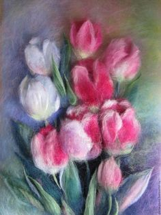 Купить Картина из шерсти Тюльпаны - розовый, картина шерстью, шерстяная акварель, тюльпаны из шерсти