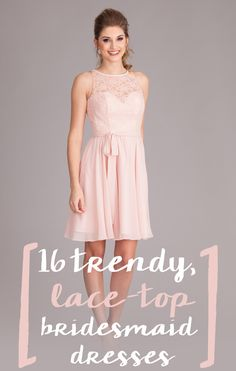 Looking for a unique wedding idea? Try these chiffon and lace bridesmaid dresses that are absolutely to die for! | Trend-Setting Lace-Top Bridesmaid Dresses
