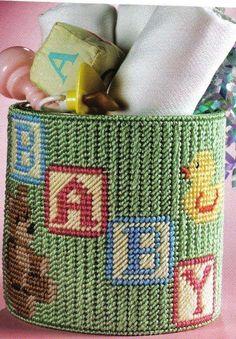 Wrap Arounds 41/48 Plastic Canvas Ornaments, Plastic Canvas Crafts, Plastic Canvas Stitches, Plastic Canvas Patterns, Nursery Patterns, Baby Patterns, Crochet Letters, Nursery Bag, Baby Shower Deco
