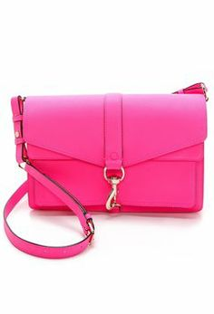 Rebecca Minkoff Hudson Moto Mini Neon Pink Cross Body Bag $189