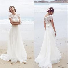 Simple Style Beach Wedding Dresses 2016 Casual Sheer Jewel Lace Appliques Sweep Train Tulle Cool Summer Bride Wedding Gowns Custom Made Online with $96.49/Piece on Dmronline's Store | DHgate.com