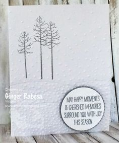 Thoughtful Branches Christmas by Ginger Rabesa, Thoughtful Branches stamp set, Swirly Scribbles Thinlits, Softly Falling Embossing Folder, and Wonderous Wreath stamp set.