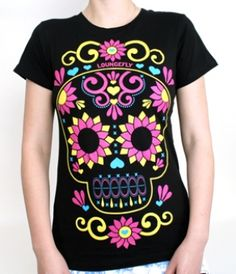 LOVE THE COLORS!- SUGAR SKULL FLOWER JUNIORS TEE LOUNGEFLY OFFICIAL WEBSITE