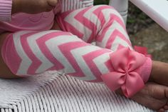 Baby Girl Leg Warmers -- Pink chevron bow leg warmers-- Wonderful Baby Shower gift. $13.95, via Etsy.
