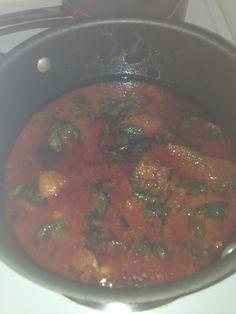 Nigerian stew w/ spinach Goat meat, gizzard, tripe, beef