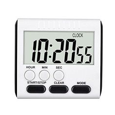 CoolHome Digital Kitchen Alarm Timer/ClockLarge LCD DisplayLoud Alarm Magnetic Back and Retractable StandMinute Second Count Up Countdown (Black)