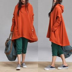 cotton Casual Long bat sleeved T-shirt Blouse  cotton Coat / loose casual Cotton Hoodie Womens Jacket (208)..just Not in orange!!