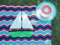 Kat Kat Katoen: Sail away... ( met patroon van bootapplicatie )