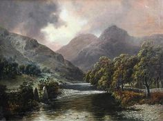 """R Herd (British, 19th Century) The Langdale Pikes, Westmorland inscribed on the reverse """"R Herd 1891"""" oil on canvas"""