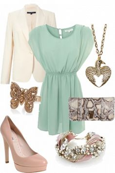 colors of mint green, soft pink & ivory