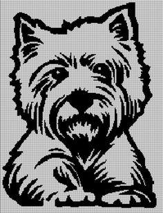 Westie silhouette cross stitch pattern in pdf - Westie silhouette cross stitch pattern in pdf - Crochet Puff Flower, Crochet Flower Patterns, Afghan Crochet Patterns, Crochet Chart, Love Crochet, Crochet Flowers, Crochet Stitches, Tunisian Crochet, Cross Stitch Animals