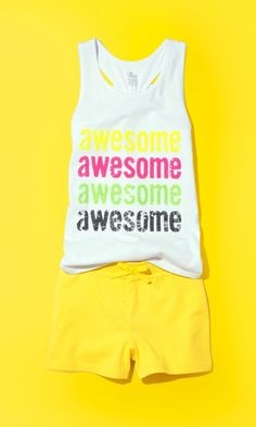 Awesome | Girls' fashion | Kids' clothes | Sequin Tank Top | Knit shorts | The Children's Place