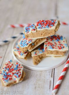 Serve a dessert inspired by cookie dough (and sprinkles!) to make your guests nostalgic for childhood. Click through for this and more recipes for red, white and blue Fourth of July desserts.