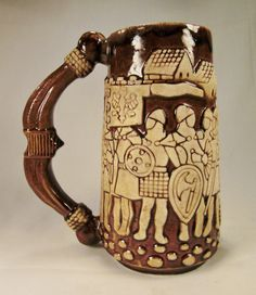 BEER Mug -Stein KNIGHTS In ARMOR Parade poland signed Relief Design Warsaw