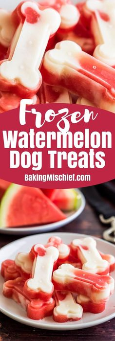 Make a big batch of these two-ingredient Watermelon and Yogurt Frozen Dog Treats to keep your pup cool this summer!