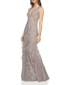 BCBGMAXAZRIA Plunge V-Neck Lace and Ruffle Gown