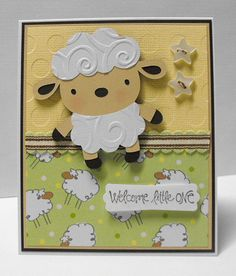 Items similar to Neutral Baby Card Lamb or Sheep on Etsy Sheep Cards, Create A Critter, Neutral, New Baby Cards, Cricut Cards, Diy Cards, Handmade Cards, Animal Cards, Punch Art
