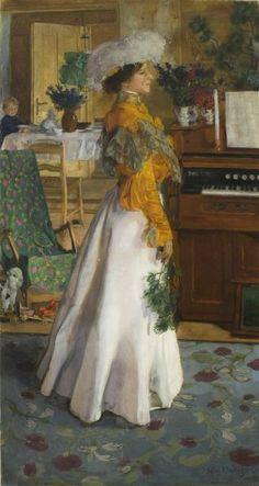 Na letnim mieszkaniu (Portret żony) - Józef Mehoffer