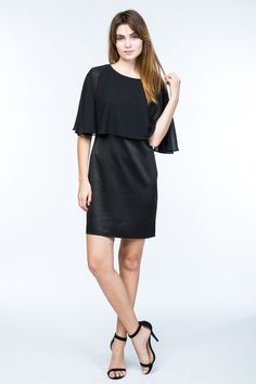 Lumiere - Young Contemporary Knee-length shift dress with sheer cape  overlay. 5f853ad78