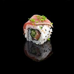 Salmon Tuna Truffle / salmon, fresh onion, cucumber, sesame tuna tataki, chives & oil