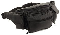 New Large Leather Waist Hip Lumbar Fanny Pack Bag with Dual Cell Phone Pocket *** Visit the image link more details.