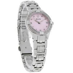 Bulova Diamond Ladies Pink Dial Diamond Quartz Dress Watch 96R171 Women's Dress Watches, Diamond Quartz, Bulova, Bracelet Watch, Lady, Pink, Accessories, Dresses, Fashion